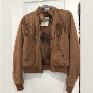 Hollister light brown suede jacket
